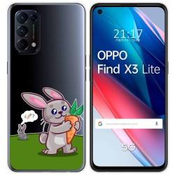 Funda Gel Transparente para Oppo Find X3 Lite diseño Conejo Dibujos