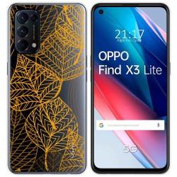 Funda Gel Transparente para Oppo Find X3 Lite diseño Hojas Dibujos