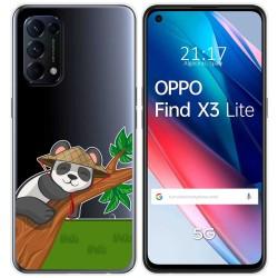 Funda Gel Transparente para Oppo Find X3 Lite diseño Panda Dibujos