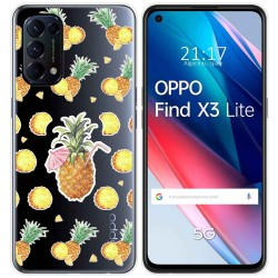 Funda Gel Transparente para Oppo Find X3 Lite diseño Piña Dibujos
