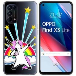 Funda Gel Transparente para Oppo Find X3 Lite diseño Unicornio Dibujos