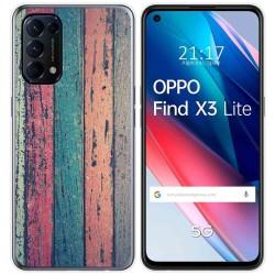 Funda Gel Tpu para Oppo Find X3 Lite diseño Madera 10 Dibujos