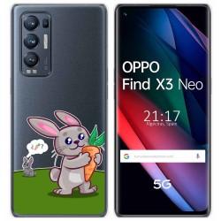 Funda Gel Transparente para Oppo Find X3 Neo diseño Conejo Dibujos