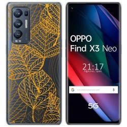 Funda Gel Transparente para Oppo Find X3 Neo diseño Hojas Dibujos