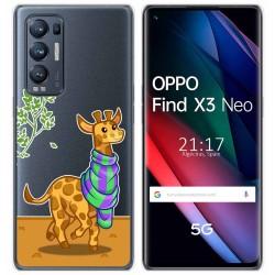 Funda Gel Transparente para Oppo Find X3 Neo diseño Jirafa Dibujos