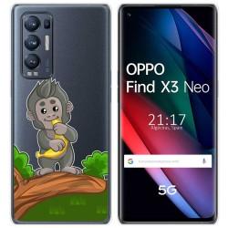 Funda Gel Transparente para Oppo Find X3 Neo diseño Mono Dibujos