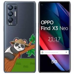Funda Gel Transparente para Oppo Find X3 Neo diseño Panda Dibujos