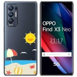 Funda Gel Transparente para Oppo Find X3 Neo diseño Playa Dibujos