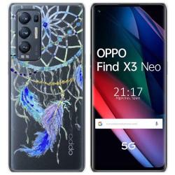 Funda Gel Transparente para Oppo Find X3 Neo diseño Plumas Dibujos