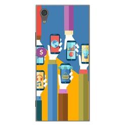 Funda Gel Tpu para Sony Xperia XA1 Diseño Apps Dibujos