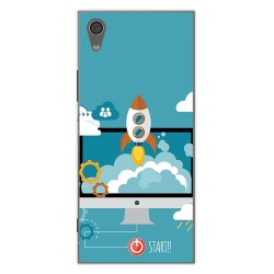 Funda Gel Tpu para Sony Xperia XA1 Diseño Cohete Dibujos