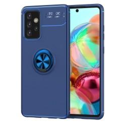 Funda Magnetica Soporte con Anillo Giratorio 360 para Samsung Galaxy A72 Azul