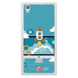 Funda Gel Tpu para Sony Xperia L1 Diseño Cohete Dibujos