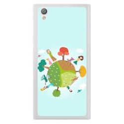 Funda Gel Tpu para Sony Xperia L1 Diseño Familia Dibujos