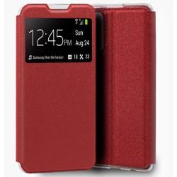 Funda Libro Soporte con Ventana para Xiaomi Redmi Note 10 Pro color Roja