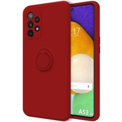 Funda Silicona Líquida Ultra Suave con Anillo para Samsung Galaxy A52 / A52 5G color Roja