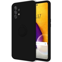 Funda Silicona Líquida Ultra Suave con Anillo para Samsung Galaxy A72 color Negra