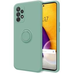 Funda Silicona Líquida Ultra Suave con Anillo para Samsung Galaxy A72 color Verde