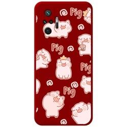 Funda Silicona Líquida Roja para Xiaomi Redmi Note 10 Pro diseño Cerdos Dibujos