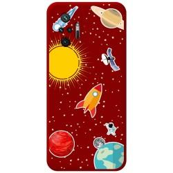Funda Silicona Líquida Roja para Xiaomi Redmi Note 10 Pro diseño Espacio Dibujos