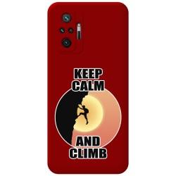 Funda Silicona Líquida Roja para Xiaomi Redmi Note 10 Pro diseño Hombre Escalada Dibujos