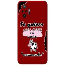 Funda Silicona Líquida Roja para Xiaomi Redmi Note 10 Pro diseño Vaca Dibujos