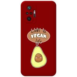 Funda Silicona Líquida Roja para Xiaomi Redmi Note 10 Pro diseño Vegan Life Dibujos