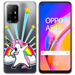 Funda Gel Transparente para Oppo A94 5G diseño Unicornio Dibujos