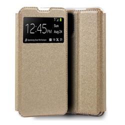 Funda Libro Soporte con Ventana para Xiaomi Mi 11 Lite 4G / 5G color Dorada