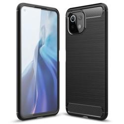 Funda Gel Tpu Tipo Carbon Negra para Xiaomi Mi 11 Lite 4G / 5G