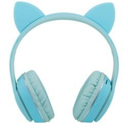 Cascos Auriculares Bluetooth con Orejas de Gato Color Azul