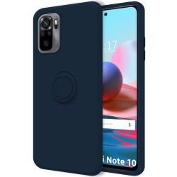 Funda Silicona Líquida Ultra Suave con Anillo para Xiaomi Redmi Note 10 / 10S color Azul