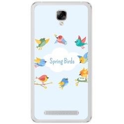 Funda Gel Tpu para Doogee X10 Diseño Spring Birds Dibujos
