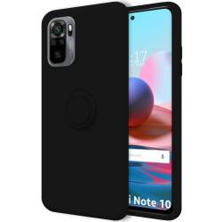 Funda Silicona Líquida Ultra Suave con Anillo para Xiaomi Redmi Note 10 / 10S color Negra