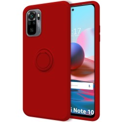 Funda Silicona Líquida Ultra Suave con Anillo para Xiaomi Redmi Note 10 / 10S color Roja