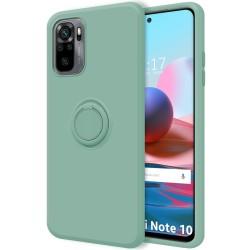Funda Silicona Líquida Ultra Suave con Anillo para Xiaomi Redmi Note 10 / 10S color Verde