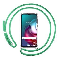 Funda Colgante Transparente para Motorola Moto G10 / G30 con Cordon Verde Agua