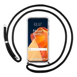 Funda Colgante Transparente para OnePlus 9 Pro 5G con Cordon Negro