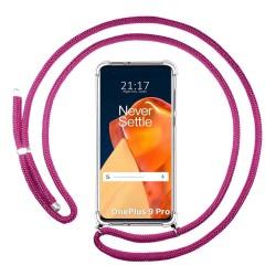 Funda Colgante Transparente para OnePlus 9 Pro 5G con Cordon Rosa Fucsia