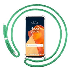 Funda Colgante Transparente para OnePlus 9 Pro 5G con Cordon Verde Agua