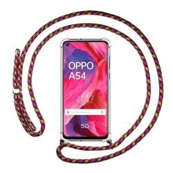 Funda Colgante Transparente para Oppo A54 5G / A74 5G con Cordon Rosa / Dorado