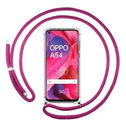 Funda Colgante Transparente para Oppo A54 5G / A74 5G con Cordon Rosa Fucsia