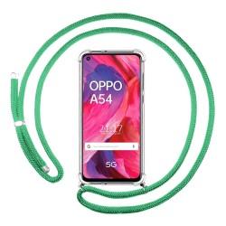 Funda Colgante Transparente para Oppo A54 5G / A74 5G con Cordon Verde Agua