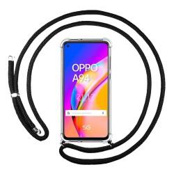 Funda Colgante Transparente para Oppo A94 5G con Cordon Negro