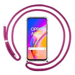 Funda Colgante Transparente para Oppo A94 5G con Cordon Rosa Fucsia