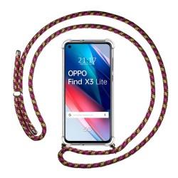 Funda Colgante Transparente para Oppo Find X3 Lite 5G con Cordon Rosa / Dorado