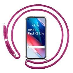 Funda Colgante Transparente para Oppo Find X3 Lite 5G con Cordon Rosa Fucsia