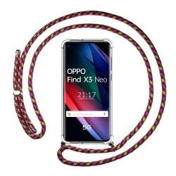 Funda Colgante Transparente para Oppo Find X3 Neo 5G con Cordon Rosa / Dorado