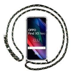 Funda Colgante Transparente para Oppo Find X3 Neo 5G con Cordon Verde / Dorado