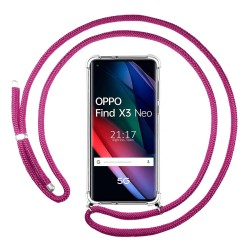 Funda Colgante Transparente para Oppo Find X3 Neo 5G con Cordon Rosa Fucsia